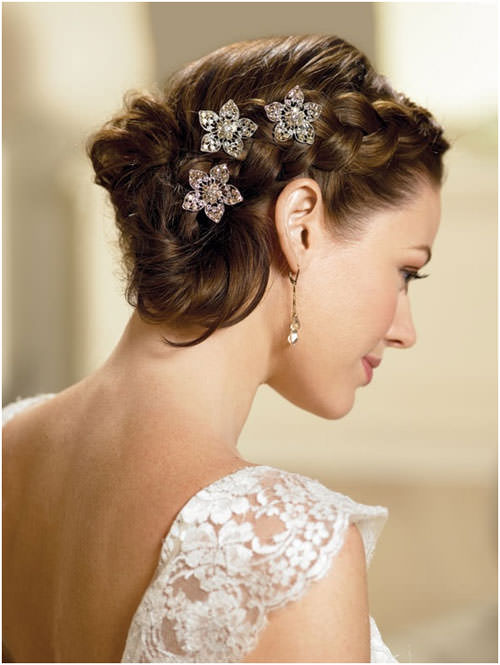 Loose Low Braided Bun with Flower